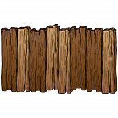 Hand Drawn Colored Old Wood Plank Isolated On White Background. Vector Illustration Wood Plank. poster