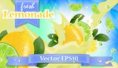 Vector Ads 3d Promotion Banner, Realistic Lemon And  Fruit Splashing With Falling Slices, Juice Drop poster