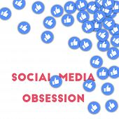 Social Media Obsession. Social Media Icons In Abstract Shape Background With Scattered Thumbs Up. So poster