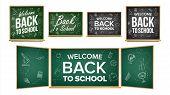 Back To School Banner Design Vector. Classroom Chalkboard, Blackboard. Doodle Icons. Sale Background poster