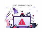 Flat Concept 404 Error Page Or File Not Found For Web Page, Banner, Presentation, Social Media, Docu poster