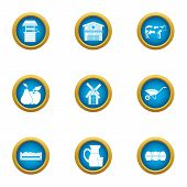 Country Economy Icons Set. Flat Set Of 9 Country Economy Vector Icons For Web Isolated On White Back poster