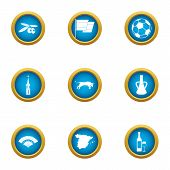 European Community Icons Set. Flat Set Of 9 European Community Vector Icons For Web Isolated On Whit poster