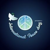 Vector Poster For The International Day Of Peace With A Dove Carrying An Olive Branch, Peace Symbol  poster