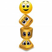 stock photo of cylinder pyramid  - Different characzers represented by smiling ball - JPG