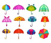Kids Umbrella Vector Childish Umbrella-shaped Rainy Protection Open And Children Dotted Parasol Illu poster