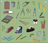vector office tools, stationery set