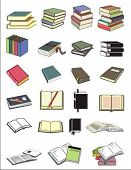 Vector illustration of various books in different positions