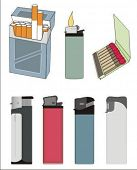 isolated lighters, cigarettes, box of matches