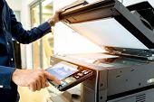 Bussiness Man Hand Press Button On Panel Of Printer, Printer Scanner Laser Office Copy Machine Suppl poster