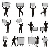 Silhouettes of people holding blank boards. Place your text on the boards