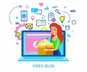 Concept Of Video Blogging. The Business Woman Is In Her Video Blog On The Notebook Screen. Flat Desi poster