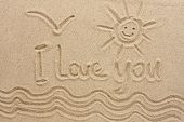 I Love You Handwritten In Sand For Natural, Love, Tourism Or Conceptual Designs. Conceptual Image poster