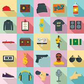 Hiphop Rap Swag Music Dance Icons Set. Flat Illustration Of 25 Hiphop Rap Swag Music Dance Vector Ic poster