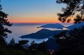 Amazing Aerial View Of Beautiful Sunset Blue Lagoon In Oludeniz, Turkey. Summer Landscape With Beach poster