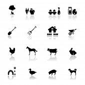 stock photo of animal footprint  - Icons set farm - JPG
