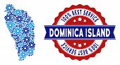 Постер, плакат: Repair Service Dominica Island Map Mosaic Of Service Tools Abstract Geographic Plan In Blue Colors