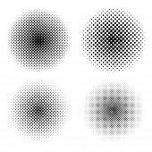 Set Of Circle Halftone. Abstract Halftone Background. Black Circles. poster