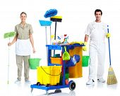 picture of janitor  - Professional cleaner man and woman with janitor cart - JPG