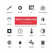 Photo Correction - Flat Design Style Icons Set, Pictograms. Edit, Color Correction, Rotation, Eyedro poster