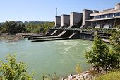 stock photo of hydro-electric  - Hydro electric dam power plant on Traun river in Marchtrenk Austria - JPG
