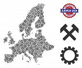 Service European Union Map Collage Of Service Tools. Abstract Geographic Plan In Grey Color And Best poster