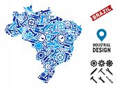 Workshop Brazil Map Collage Of Cogs, Wrenches, Hammers And Other Instruments. Abstract Territory Pla poster