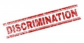 Discrimination Seal Print With Distress Texture. Red Vector Rubber Print Of Discrimination Label Wit poster