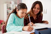 Mother Helping Daughter With Homework Sitting At Desk In Bedroom poster