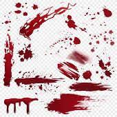Set Of Vector Various Realistic Detailed Bloodstain, Blood Or Paint Splatters Isolated On The Alpha  poster