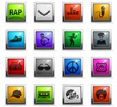 Rap Web Icons In Square Colored Buttons For User Interface Design poster