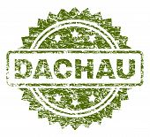 Dachau Stamp Seal Watermark With Scratched Style. Green Vector Rubber Print Of Dachau Title With Scr poster