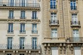 Paris Residential Buildings. Old Paris Architecture, Beautiful Facades, Typical French Houses. Famou poster