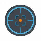 Modern Gun Target Icon. Flat Illustration Of Modern Gun Target Vector Icon For Web Isolated On White poster