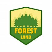 Forest Land Logo. Flat Illustration Of Forest Land Vector Logo For Web Isolated On White poster