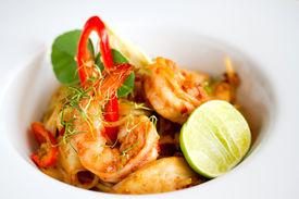 picture of thai food  - Spicy Shrimp Spaghetti close up Thai Food - JPG