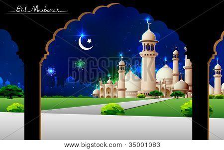 illustration of Eid Mubarak greeting on mosque backdrop