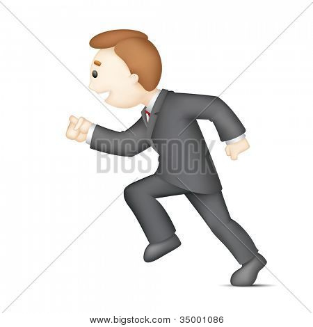 illustration of 3d business man in vector running