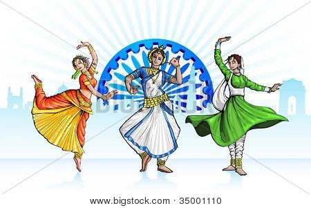 illustration of Indian classical dancer performing in tricolor costume