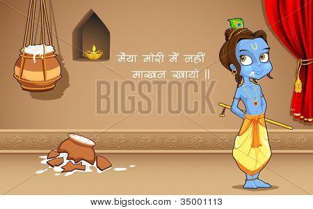 Ilustración de Krishana como Makhan Chor en Janmashtami
