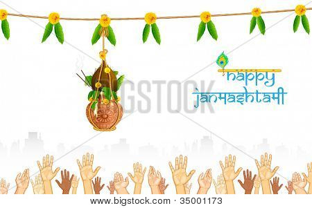 illustration of people catching dahi handi on Janmashtami background