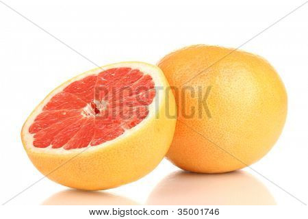 Ripe grapefruit and half isolated on white