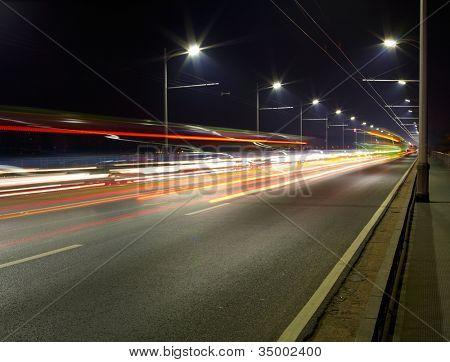 Night traffic light of big city