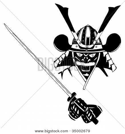 Samurai in mask, with sword