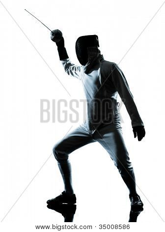 one man fencing silhouette in studio isolated on white background
