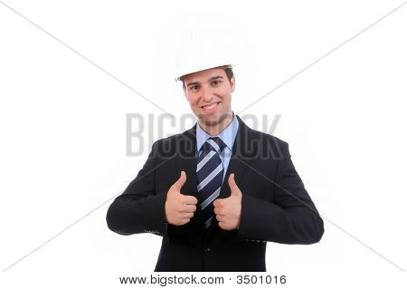 Young Business Man, Showing Thumbs Up