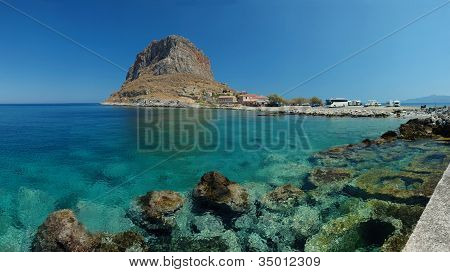 Panorama Of Old Rock Byzantine Town Monemvasia ,peloponnese,greece