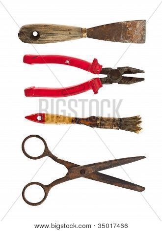 Collection Of Old Tools Of Pliers, Brush, Scissors And A Spatula
