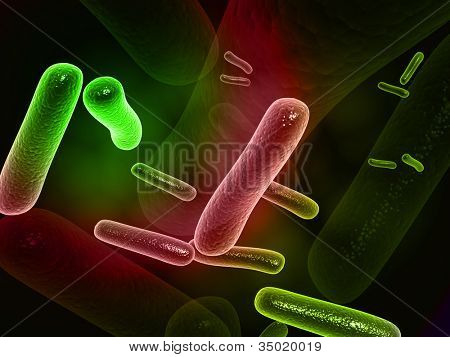 Digital illustration of  bacteria in 3d on digital background