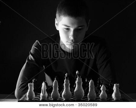 Teenage Boy Playing Chess